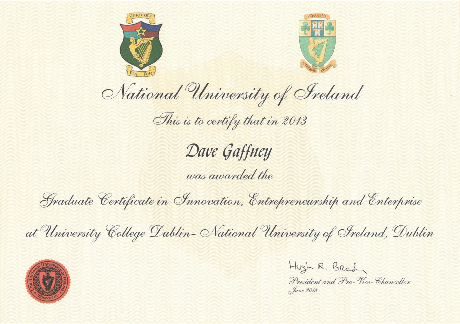 See Certificate
